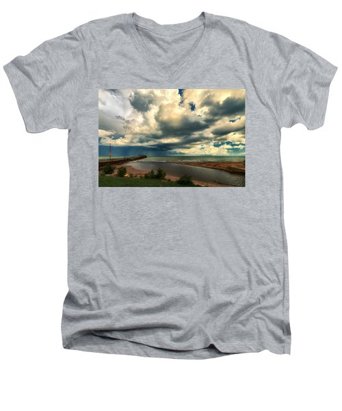 Watching The Storm On Lake Erie Men's V-Neck T-Shirt