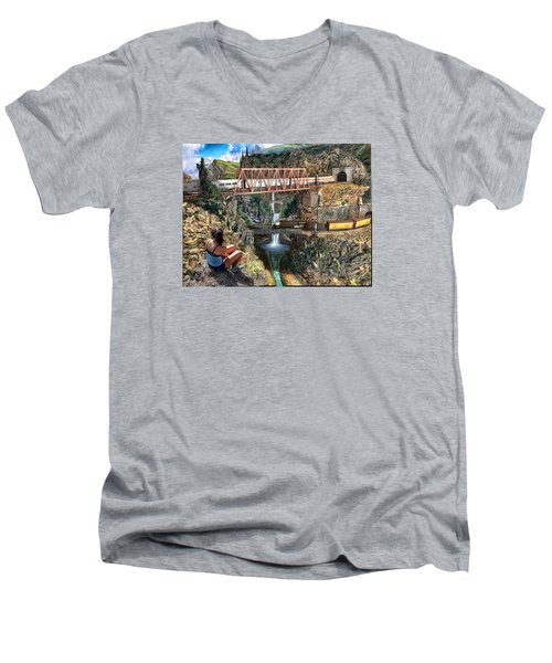 Watching The World Go By Men's V-Neck T-Shirt by Michael Cleere