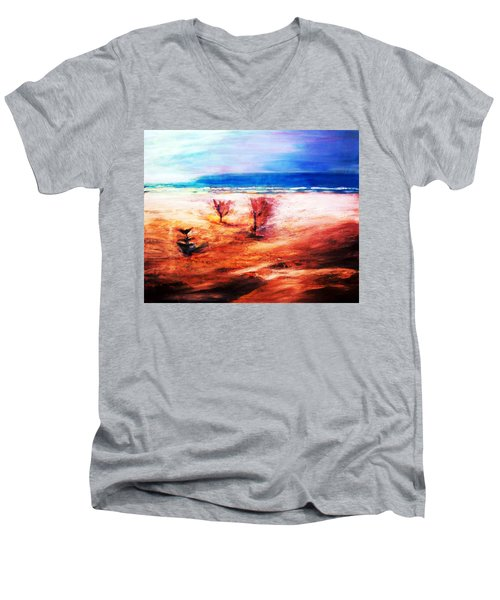 Men's V-Neck T-Shirt featuring the painting Water And Earth by Winsome Gunning