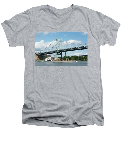 Water And Ship Under The Bridge Men's V-Neck T-Shirt