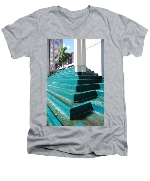 Men's V-Neck T-Shirt featuring the photograph Water At The Federl Courthouse by Rob Hans