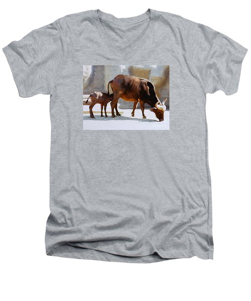 Men's V-Neck T-Shirt featuring the photograph Water Buffalo And Feeding Calf by Merton Allen