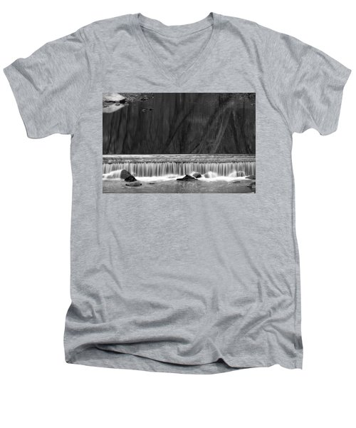 Water Fall In Black And White Men's V-Neck T-Shirt