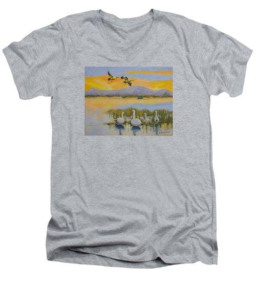 Water Fowl, Sutter Buttes Men's V-Neck T-Shirt
