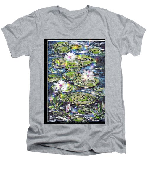 Men's V-Neck T-Shirt featuring the painting Water Lilies And Rainbows by Desline Vitto