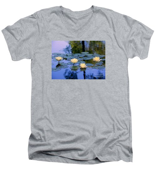 Men's V-Neck T-Shirt featuring the photograph Water Lilies by Lisa L Silva