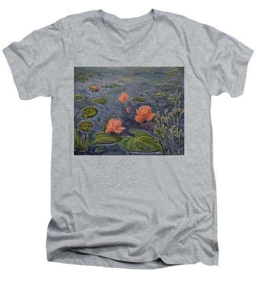 Water Lilies Lounge Men's V-Neck T-Shirt by Felicia Tica