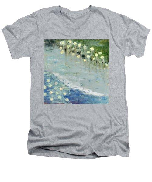Water Lilies Men's V-Neck T-Shirt by Michal Mitak Mahgerefteh