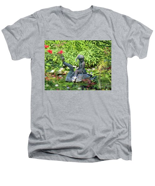 Water Lilly Pond Men's V-Neck T-Shirt by Inspirational Photo Creations Audrey Woods