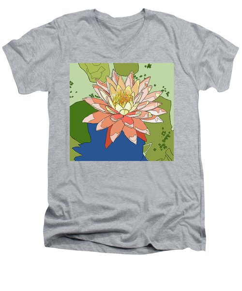 Water Lily And Duck Weed Men's V-Neck T-Shirt by Jamie Downs