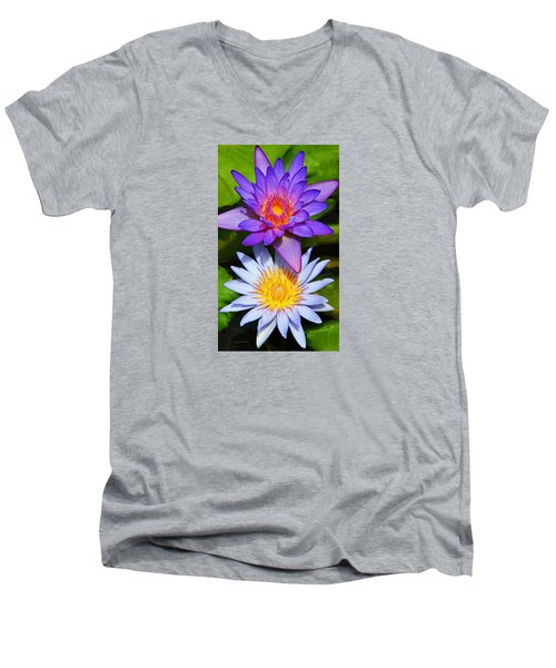 Water Lily Blossoms Men's V-Neck T-Shirt by Kerri Ligatich