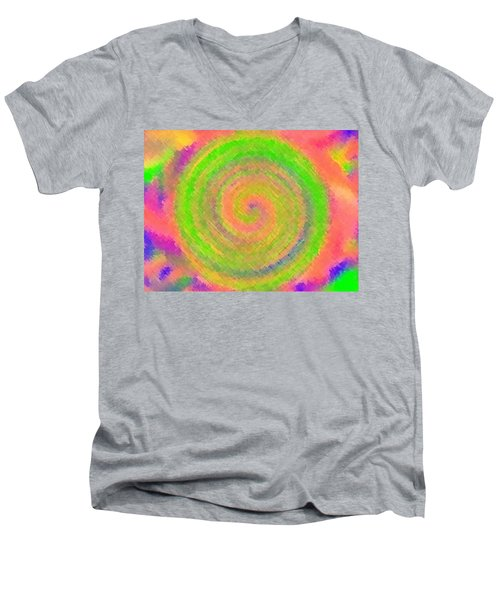 Men's V-Neck T-Shirt featuring the digital art Water Melon Whirls by Catherine Lott