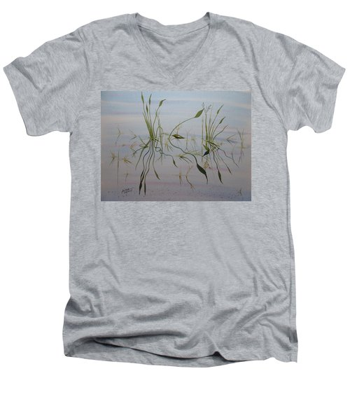 Men's V-Neck T-Shirt featuring the painting Water Music by Joel Deutsch