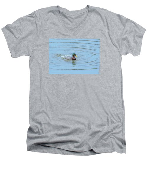 Water Off A Ducks Back Men's V-Neck T-Shirt by Allan Levin