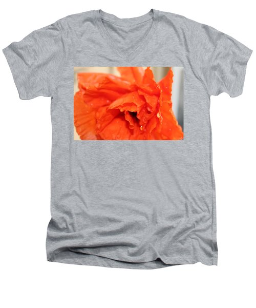 Men's V-Neck T-Shirt featuring the photograph Water On Orange by Christin Brodie
