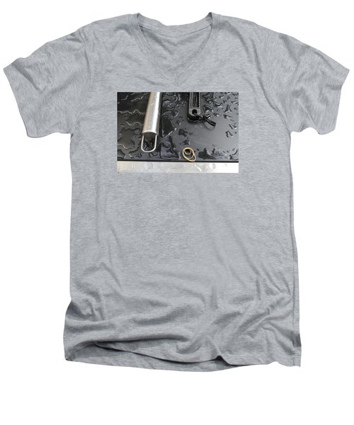 Men's V-Neck T-Shirt featuring the photograph Water On The Bbq  by Lyle Crump
