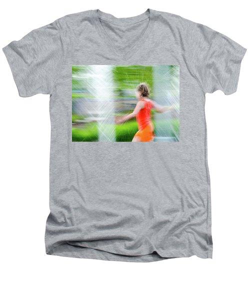 Water Park In The Summer Men's V-Neck T-Shirt