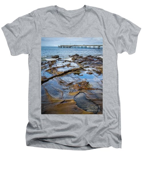 Men's V-Neck T-Shirt featuring the photograph Water Pool by Perry Webster