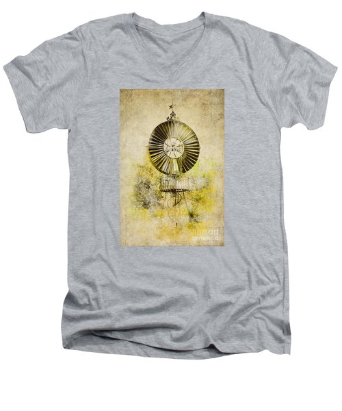 Men's V-Neck T-Shirt featuring the photograph Water-pumping Windmill by Heiko Koehrer-Wagner
