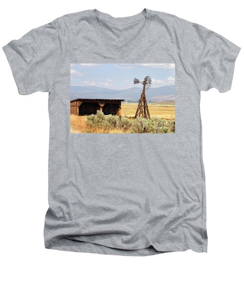 Water Pumping Windmill Men's V-Neck T-Shirt