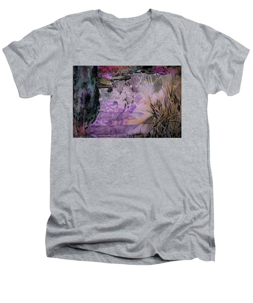Men's V-Neck T-Shirt featuring the painting Water Sprite by Mindy Newman