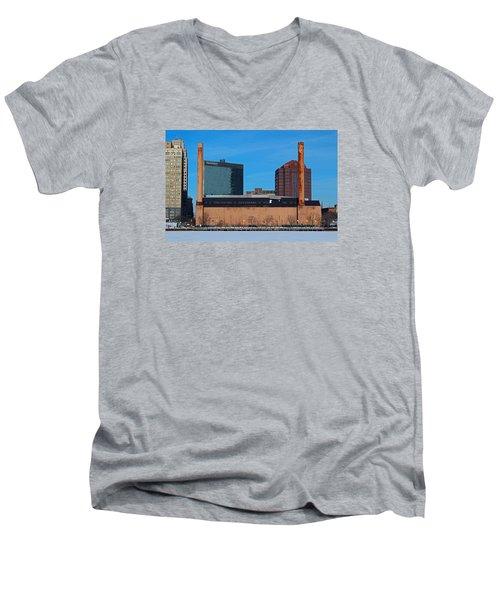 Water Street Steam Plant In Winter Men's V-Neck T-Shirt
