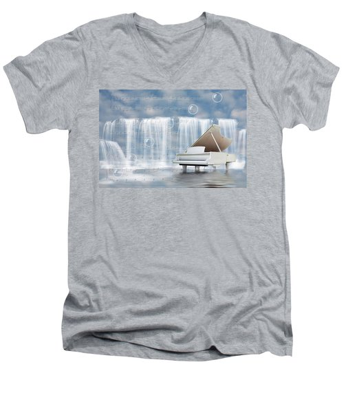 Water Synphony For Piano Men's V-Neck T-Shirt by Angel Jesus De la Fuente