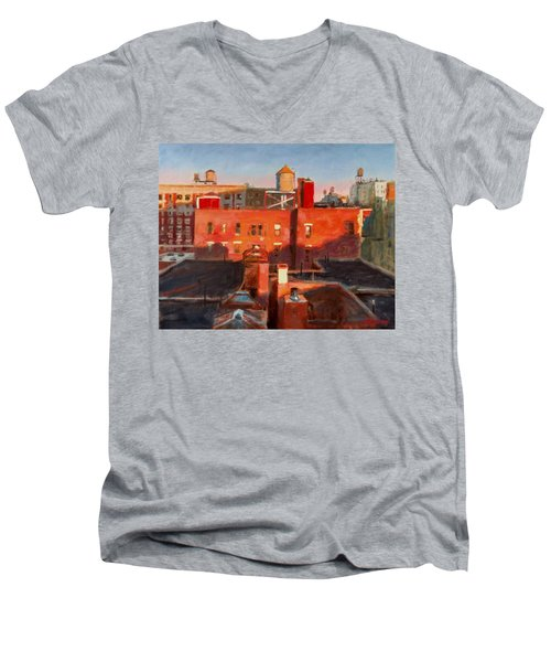 Water Towers At Sunset No. 3 Men's V-Neck T-Shirt