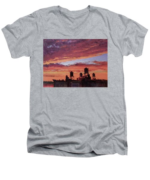Water Towers At Sunset No. 4 Men's V-Neck T-Shirt