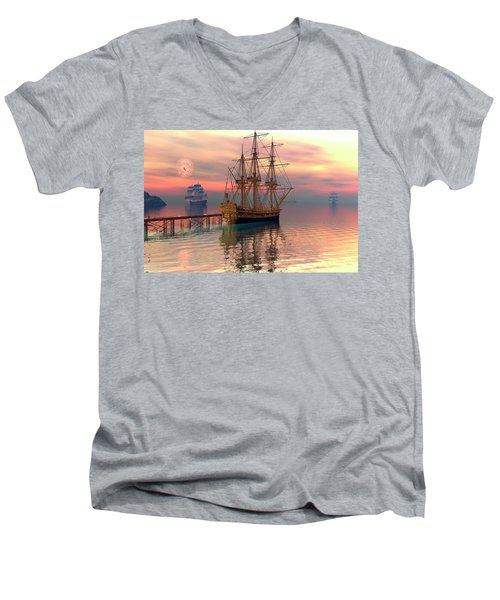 Water Traffic Men's V-Neck T-Shirt by Claude McCoy