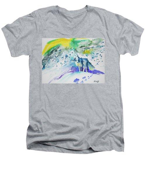 Watercolor - Arctic Fox Men's V-Neck T-Shirt