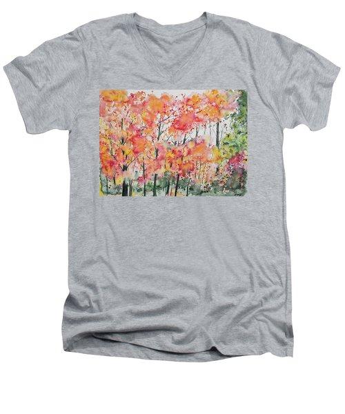 Watercolor - Autumn Forest Men's V-Neck T-Shirt