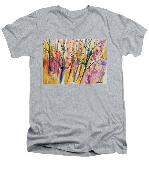 Watercolor - Autumn Forest Impression Men's V-Neck T-Shirt