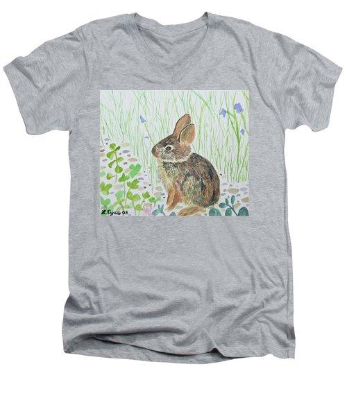 Watercolor - Baby Bunny Men's V-Neck T-Shirt