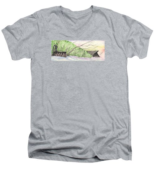 Watercolor Barn Men's V-Neck T-Shirt by Darren Cannell