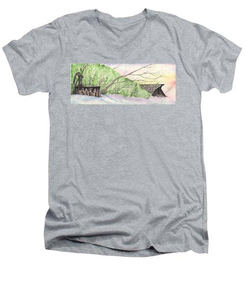 Watercolor Barn Men's V-Neck T-Shirt