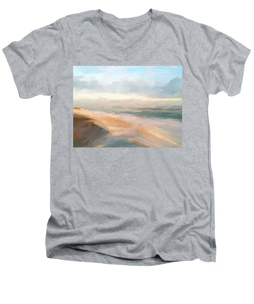 Watercolor Beach Abstract Men's V-Neck T-Shirt by Anthony Fishburne