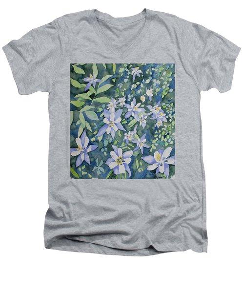 Watercolor - Blue Columbine Wildflowers Men's V-Neck T-Shirt