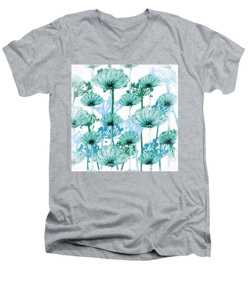 Men's V-Neck T-Shirt featuring the digital art Watercolor Dandelions by Bonnie Bruno