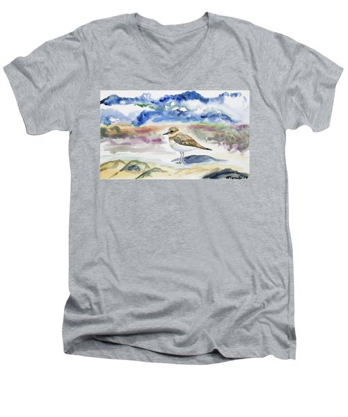 Watercolor - Double-banded Plover On The Beach Men's V-Neck T-Shirt