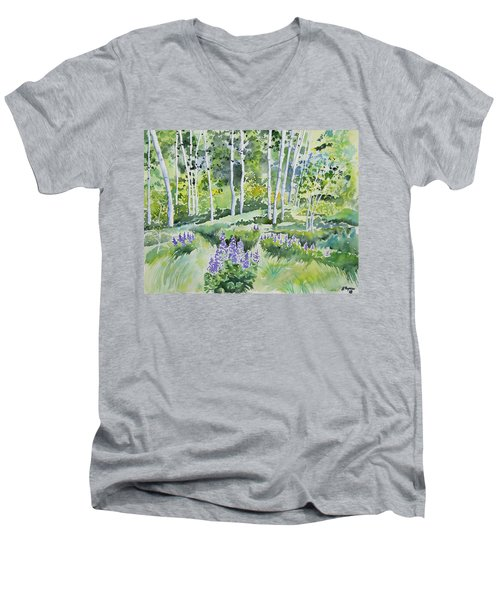 Watercolor - Early Summer Aspen And Lupine Men's V-Neck T-Shirt