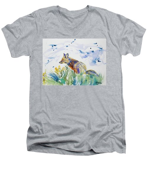Watercolor - Fox On The Lookout Men's V-Neck T-Shirt