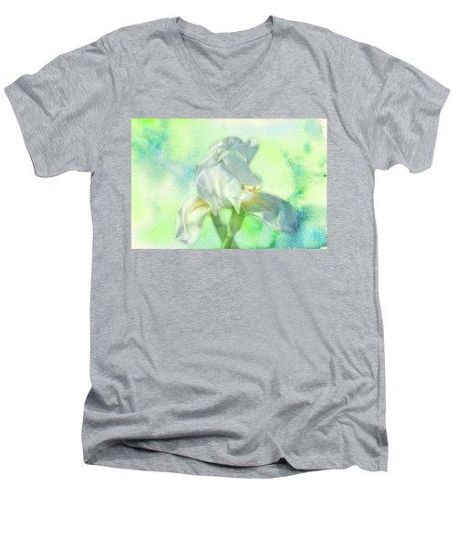 Watercolor Iris Men's V-Neck T-Shirt by Joan Bertucci