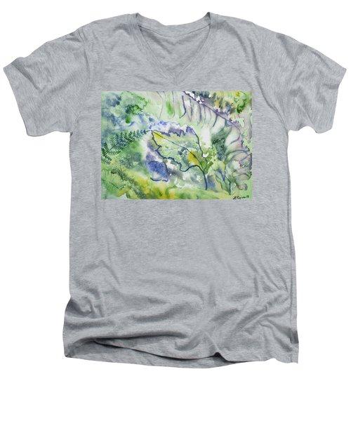 Watercolor - Leaves And Textures Of Nature Men's V-Neck T-Shirt
