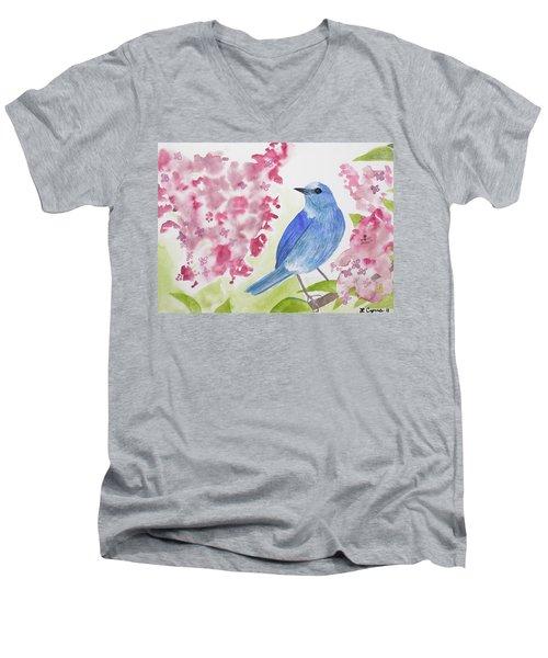 Watercolor - Mountain Bluebird Men's V-Neck T-Shirt