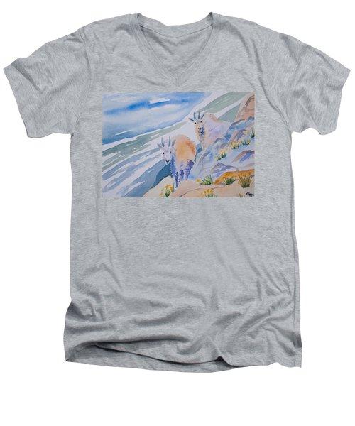 Watercolor - Mountain Goats On Quandary Men's V-Neck T-Shirt
