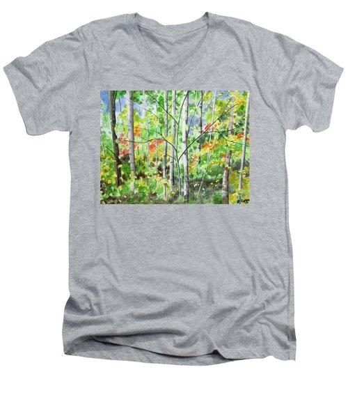 Watercolor - Northern Forest Men's V-Neck T-Shirt