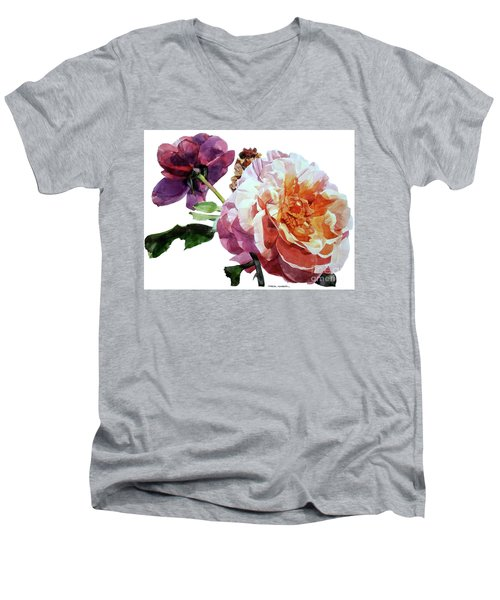 Watercolor Of Two Roses In Pink And Violet On One Stem That  I Dedicate To Jacques Brel Men's V-Neck T-Shirt