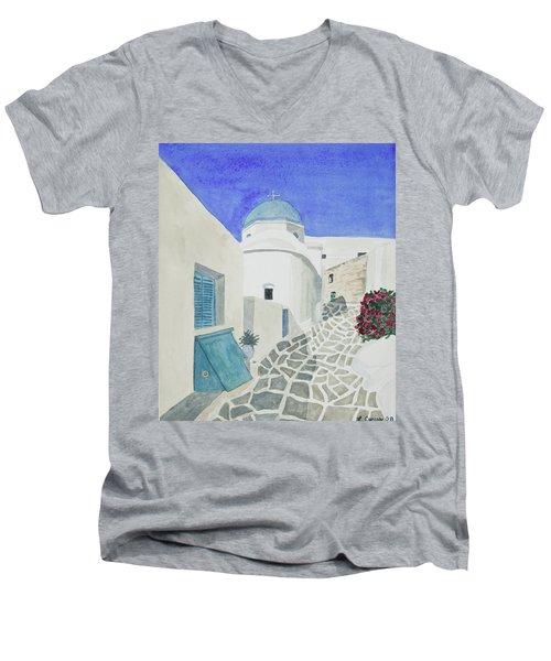 Watercolor - Paros Church And Street Scene Men's V-Neck T-Shirt