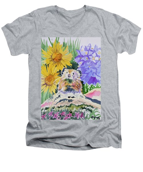 Watercolor - Pika With Wildflowers Men's V-Neck T-Shirt